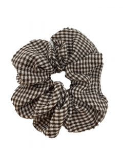 JA•NI Hair Accessories - Hair Scrunchies, The Brown Thin Checkered