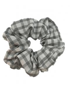 JA•NI Hair Accessories - Hair Scrunchies, The Grey Wide Checkered